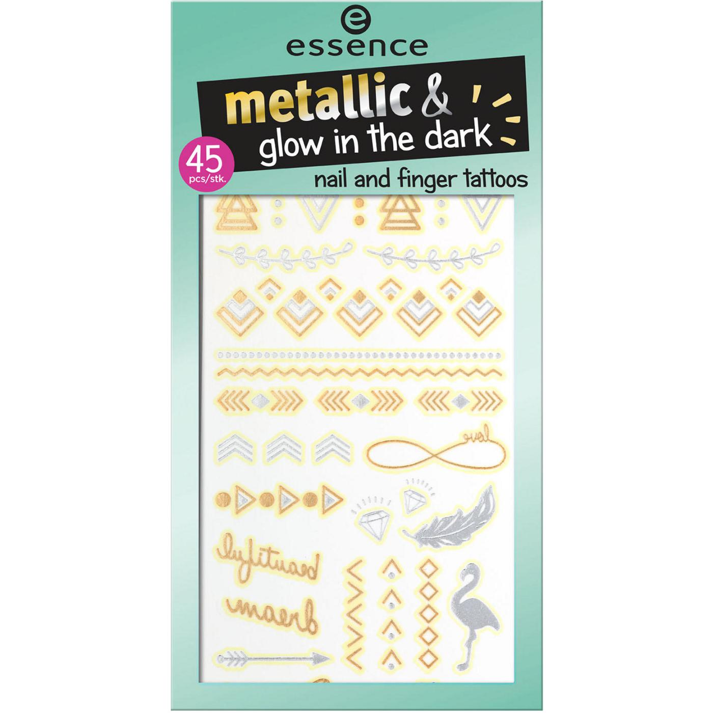essence metallic & glow in the dark nail and finger tattoos 01