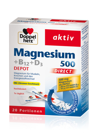 Doppelherz Magnesium 500 + B12 + D3 Depot direct 20 Portion
